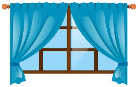 blue curtain: Window with blue curtain illustration Illustration