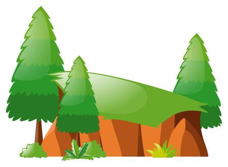 Cliff and pine trees illustration Illustration