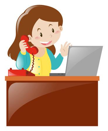 Woman working on computer at desk illustration Illustration