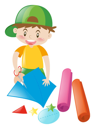 Boy cutting papers into shapes illustration 일러스트