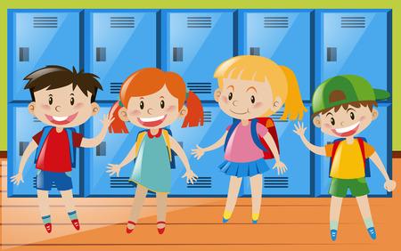 Four children in locker room illustration