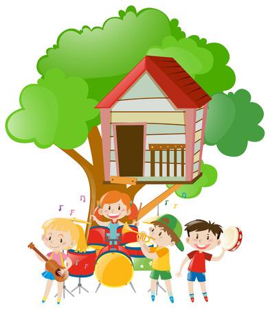 ツリー図の下で音楽を遊んでいる子供たち