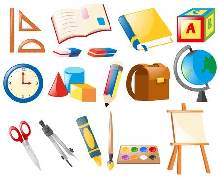 Conjunto de objetos de la escuela ilustración