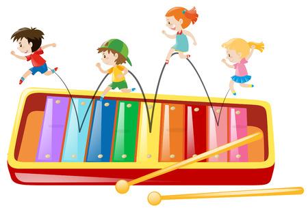 I bambini che saltano sul gigante illustrazione xilofono