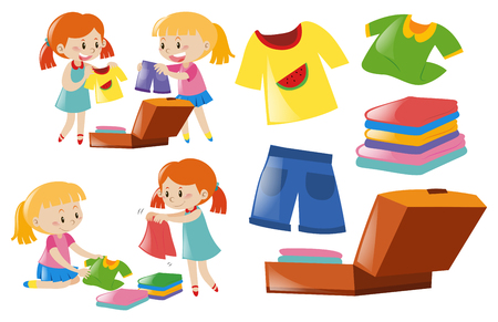 Girls and set of clothes illustration