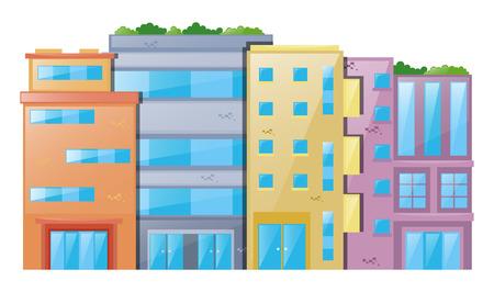 Many buildings on white background illustration Illustration