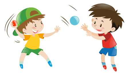 throwing: Two boys throwing and catching balls illustration