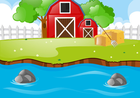 Scene with barns and river illustration Illustration
