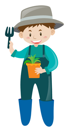 potted plant: Male gardener with potted plant illustration