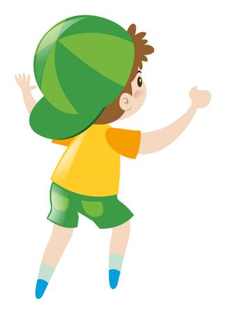 turn yellow: Little boy in yellow shirt turn back illustration