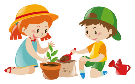 Two kids playing tree in pot illustration Vectores