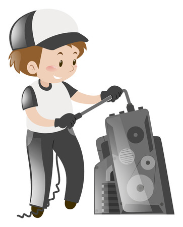 repairing: Technician repairing machine alone illustration