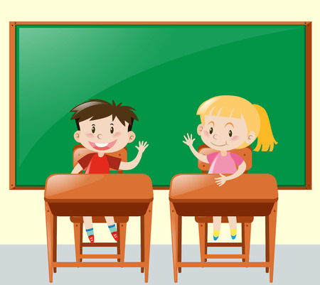 asking: Two kids asking question in classroom illustration