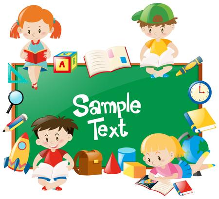 Frame design with children reading books illustration