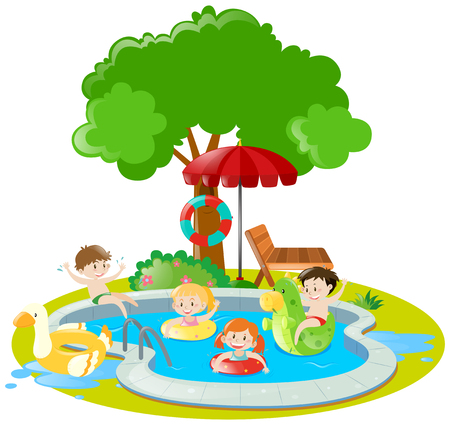 Children swimming in swimming pool illustration