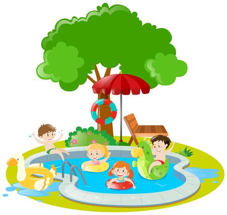 Children swimming in swimming pool illustration