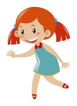 Little girl in blue dress illustration Illustration