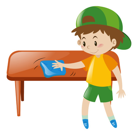 cleaning cloth: Little boy cleaning table with cloth illustration Illustration