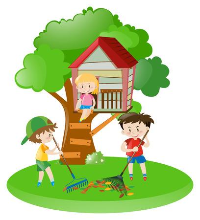 Boys raking leaves and girl on treehouse illustration Illustration