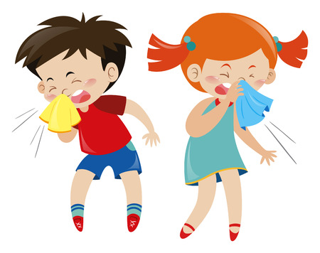 Boy and girl having cold illustration Vectores