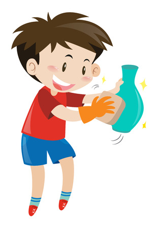 Boy rubbing flower vase illustration
