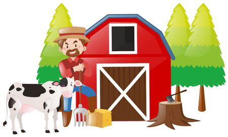 Farmer working in the farm illustration