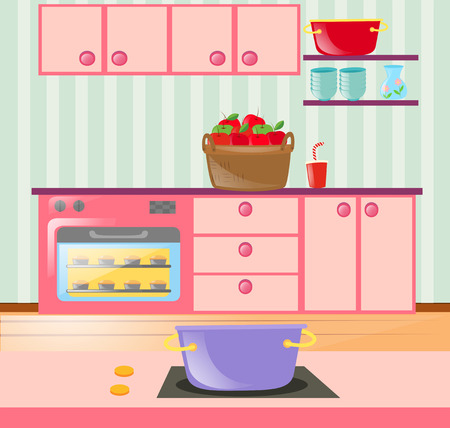 kitchen cabinets: Kitchen full of cabinets and appliances illustration