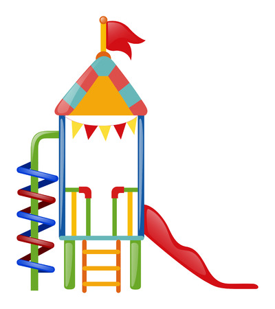 playhouse: Playhouse with slide and steps illustration