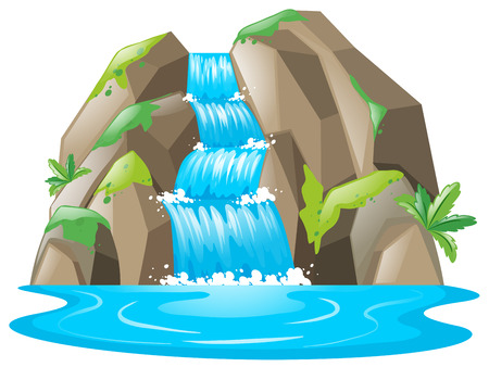 Scene with waterfall and river illustration Иллюстрация