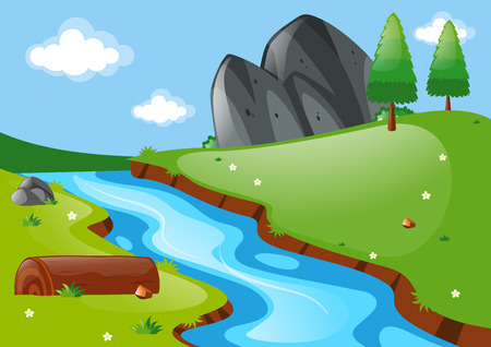 river rock: Nature scene with river and field illustration