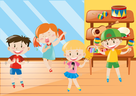 Boy and girl in music class illustration 일러스트
