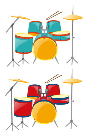 drumset: Two sets of drumset in blue and red illustration
