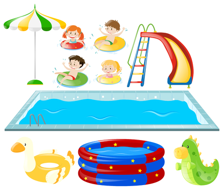 Set with swimming pool and kids swimming illustration