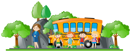 Children and teacher standing by school bus illustration