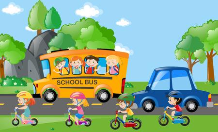 バスとバイク イラスト上の子供