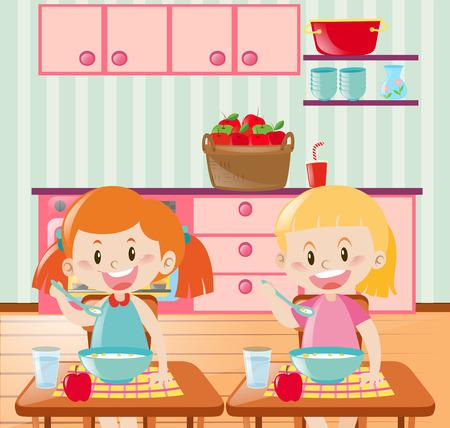 kids eating: Two kids eating breakfast in kitchen illustration
