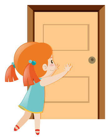 Little girl pushing the door open illustration