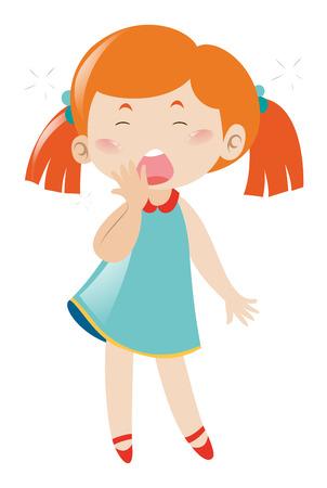 yawning: Sleepy girl yawning on white background illustration