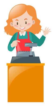 oficinista: empleado de sexo femenino que trabaja en la ilustración de escritorio