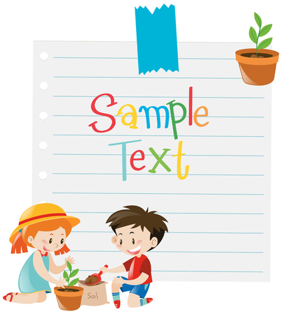 planting tree: Paper template with kids planting tree illustration Illustration