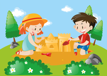 Boy and girl building sandcastle illustration