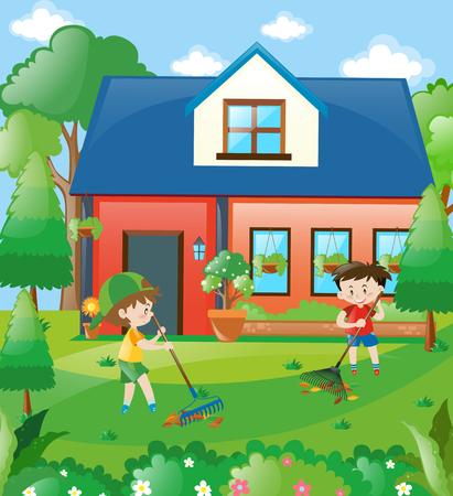 raking: Kids raking leaves at home illustration Illustration