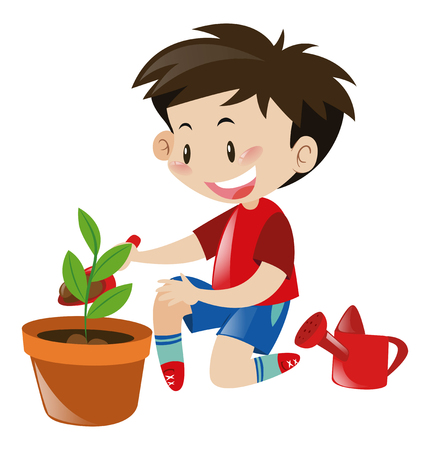 planting tree: Boy planting tree in flower pot illustration