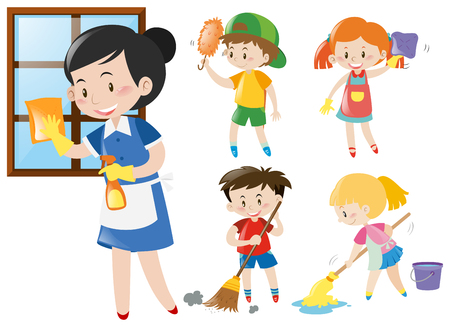 chores: Maid and kids doing chores illustration Illustration