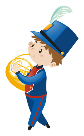french horn: Boy in blue uniform playing french horn illustration