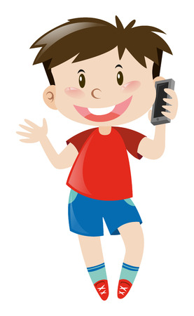 red shirt: Boy in red shirt using mobile phone illustration