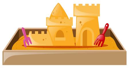 sandbox: Sand castle in sandbox  illustration