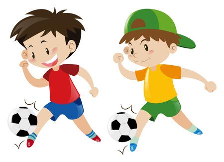 boys playing: Two boys playing football  illustration