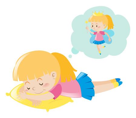 dreaming girl: Girl dreaming of being fairy illustration