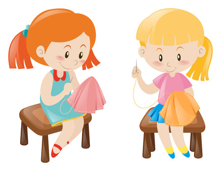 handkerchief: Two girl sewing handkerchief illustration